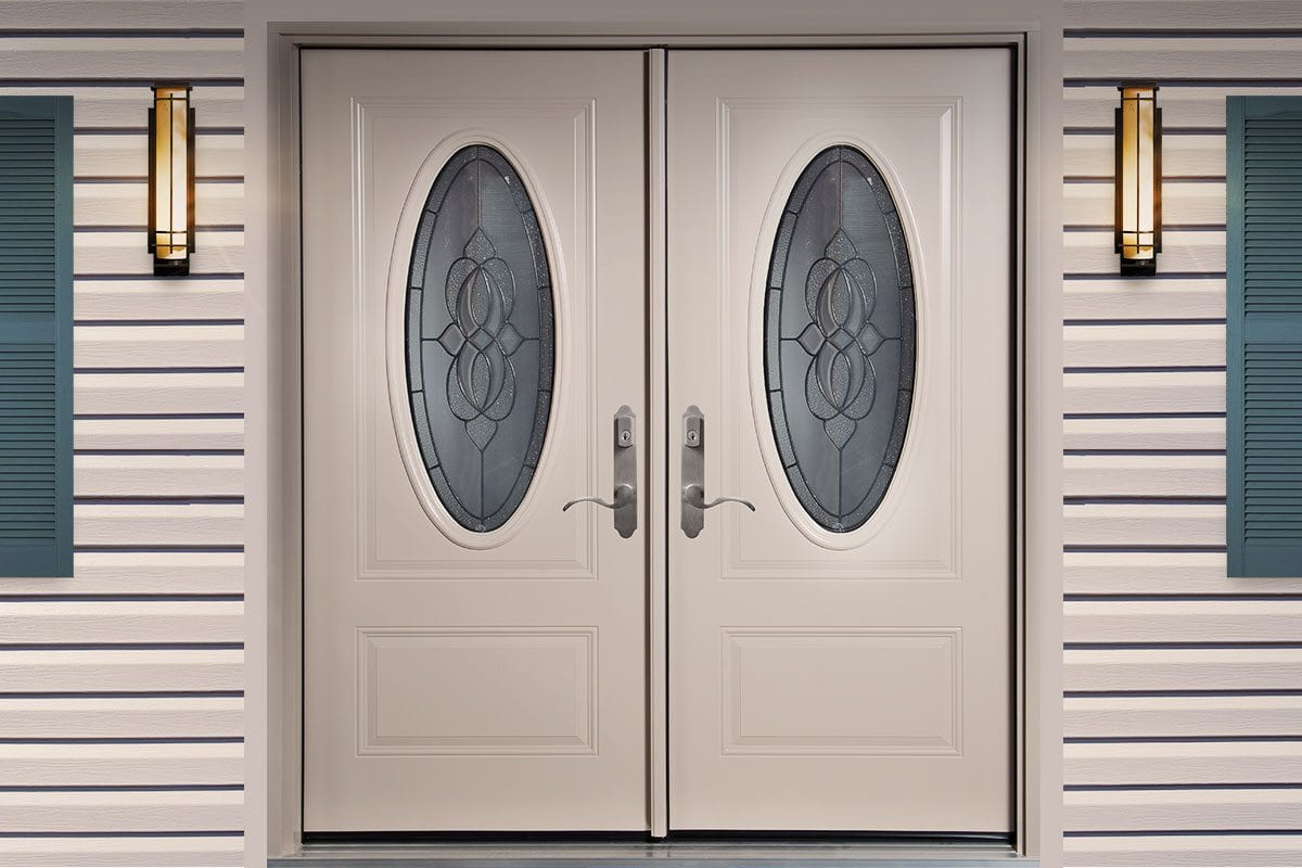 Entry doors with fiber glass