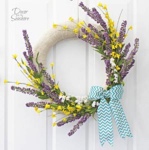 Lovely Lavender and Forsythia Wreath