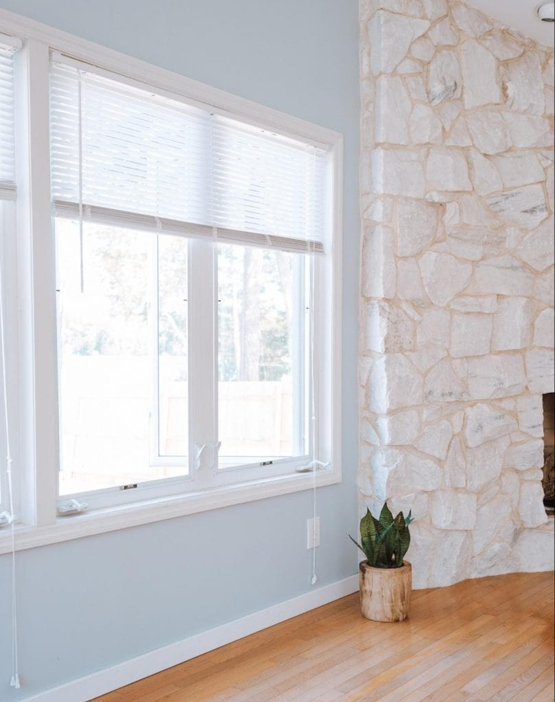 Closeup of a casement window inside a home