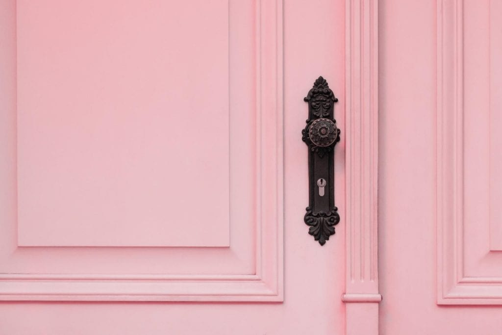Close up of a pink replacement door
