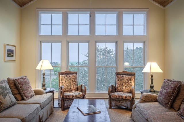 Large vinyl picture windows in a living room
