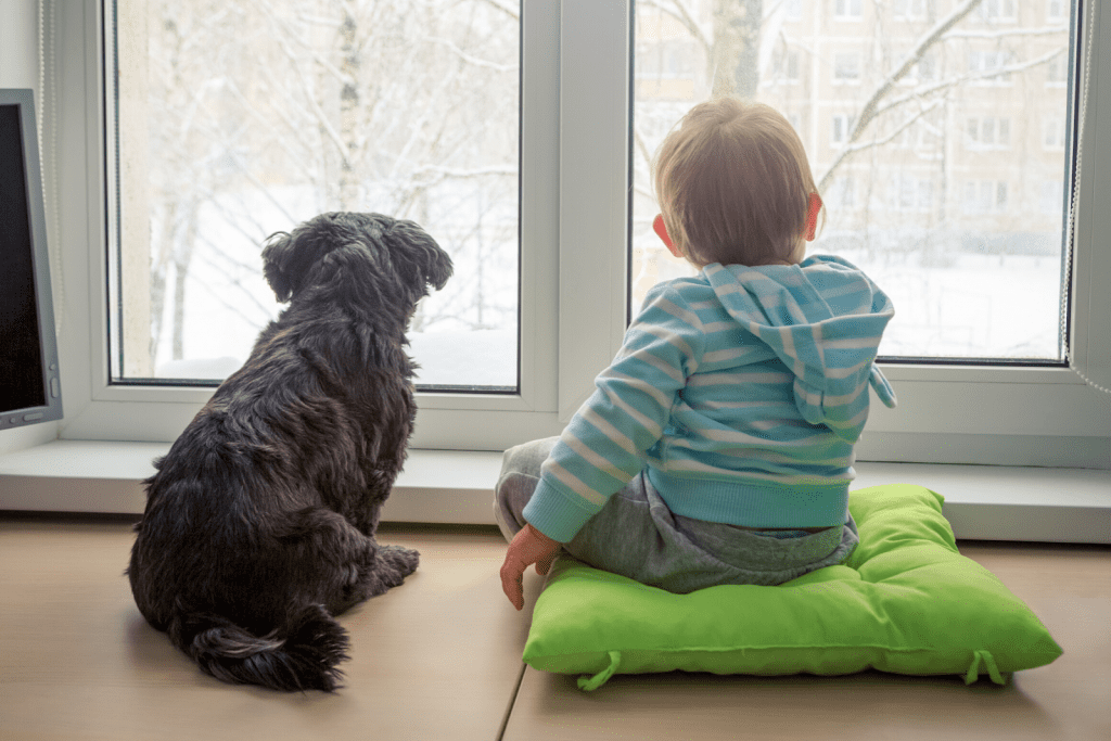 Baby and dog sitting in front of a window looking out at snow