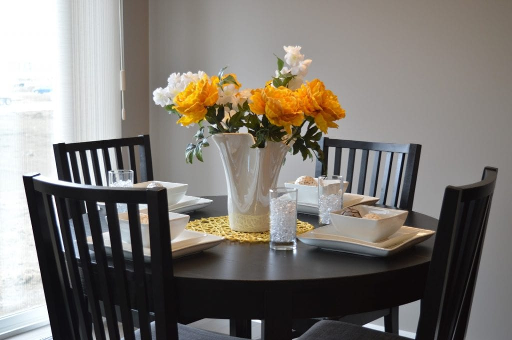 Close up of a dining room table setting