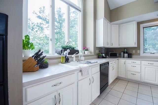 Kitchen with large vinyl windows