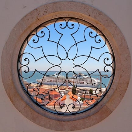 Round windows with a view of the sea