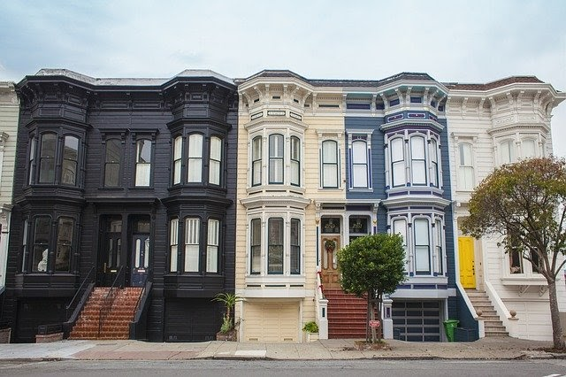 Apartment buildings with bay windows
