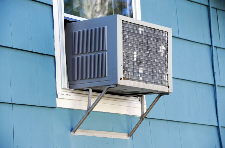 A window air-conditioning unit that has A/C brackets