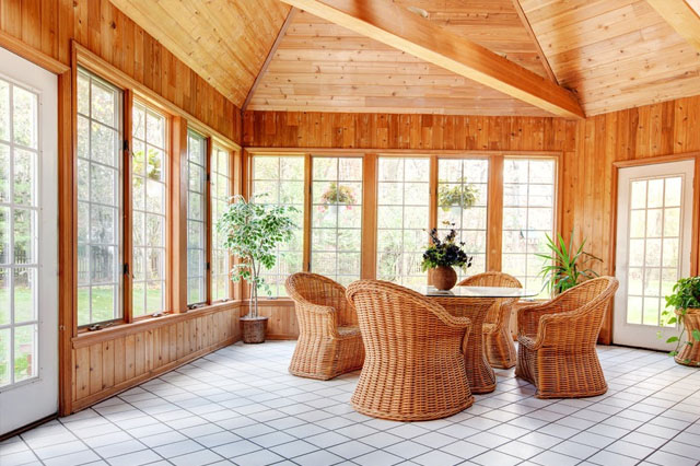 Sunroom with wooden interiors