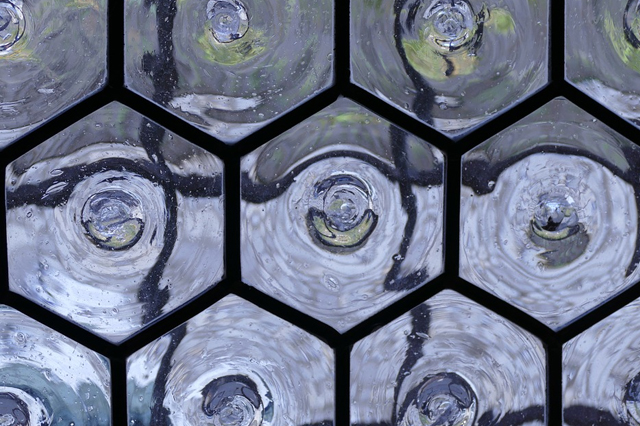 Closeup of crown glass, a product of one of the oldest methods of creating glass
