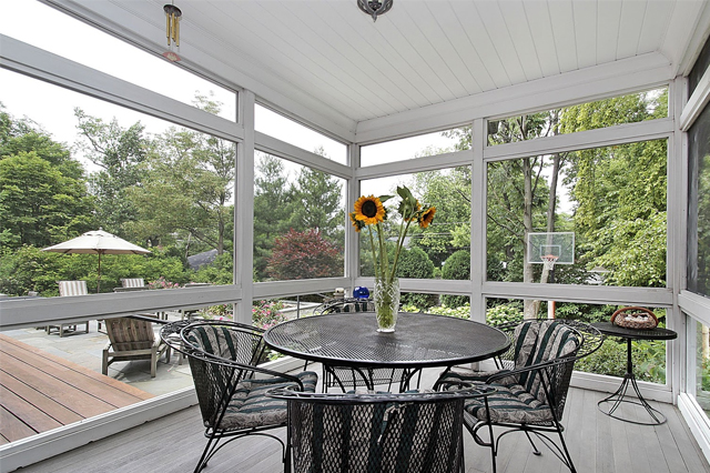 A screened-in porch with a table