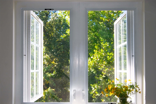 Casement windows opening outwards