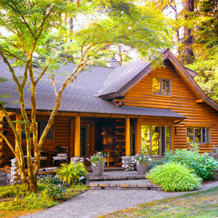 The front view of a cottage in a rural area