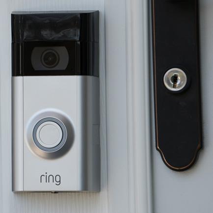 Exterior door with a Ring smart doorbell