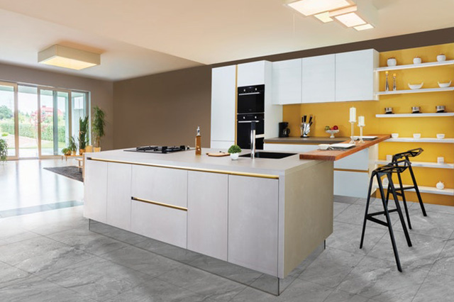 Contemporary kitchen with sliding garden doors