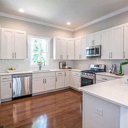 A stylish all-white kitchen