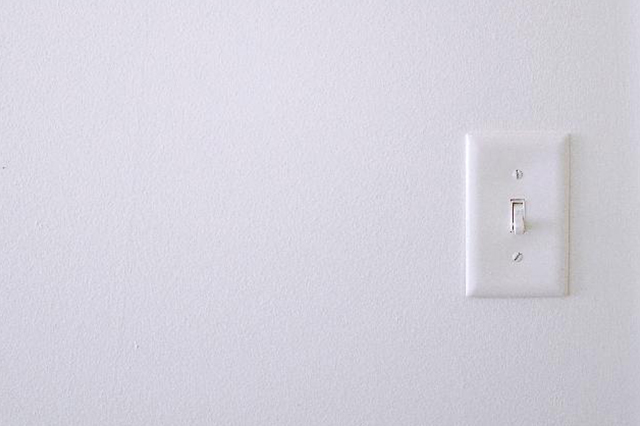 White walls, light switch