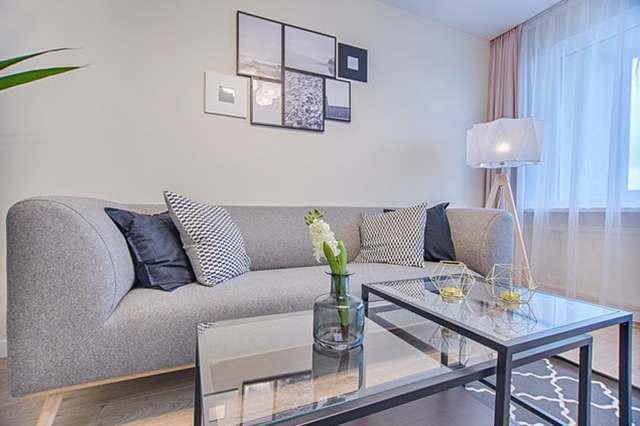 Living room with nice lamp
