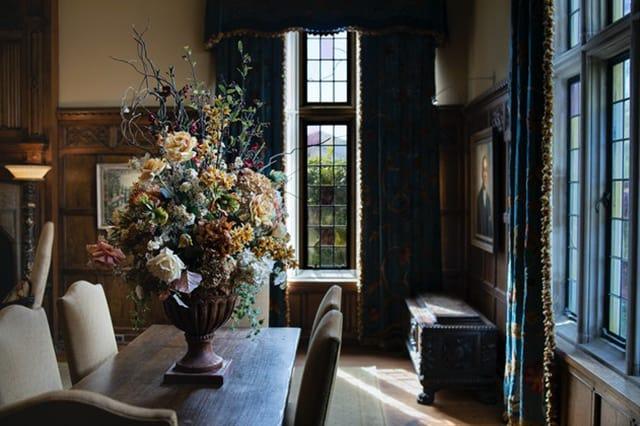 Home with an elaborate autumn flower arrangement