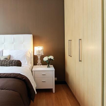Modern closet doors in a stylish bedroom