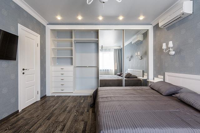Modern closet door with mirrors