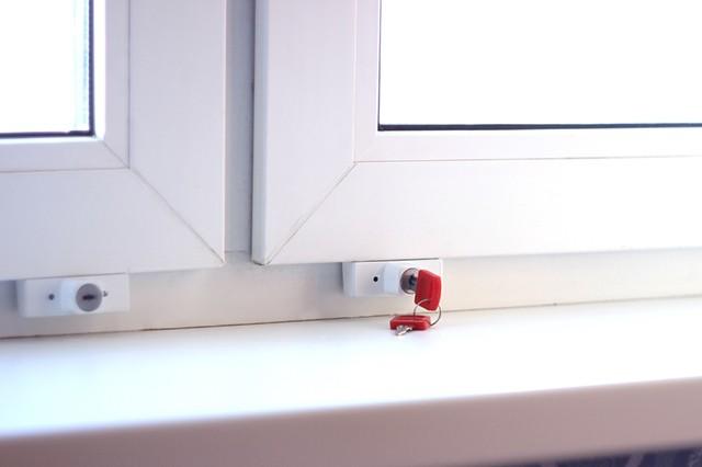 Sliding window lock with red hex key