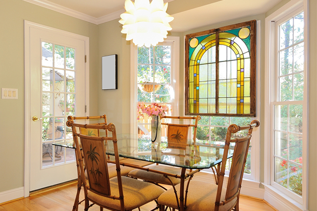 Bay window with stained glass windows