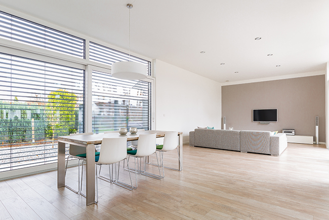 Inside mount blinds in a dining room