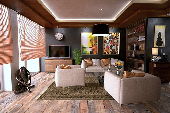 Living room with cellular shades