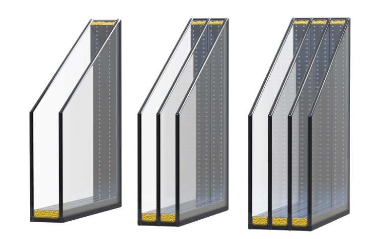 A comparison of the cross-sections of double, triple, and quadruple-glazed windows