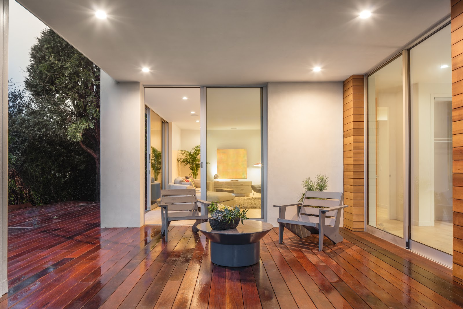 A pair of sliding patio doors leading to a patio