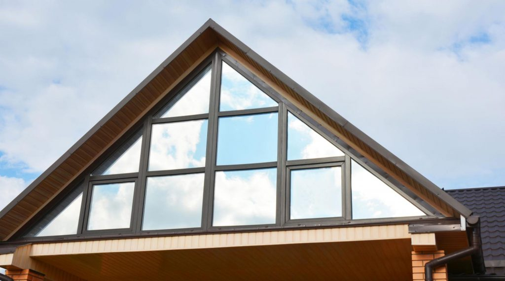 A roof with windows lined along its gable