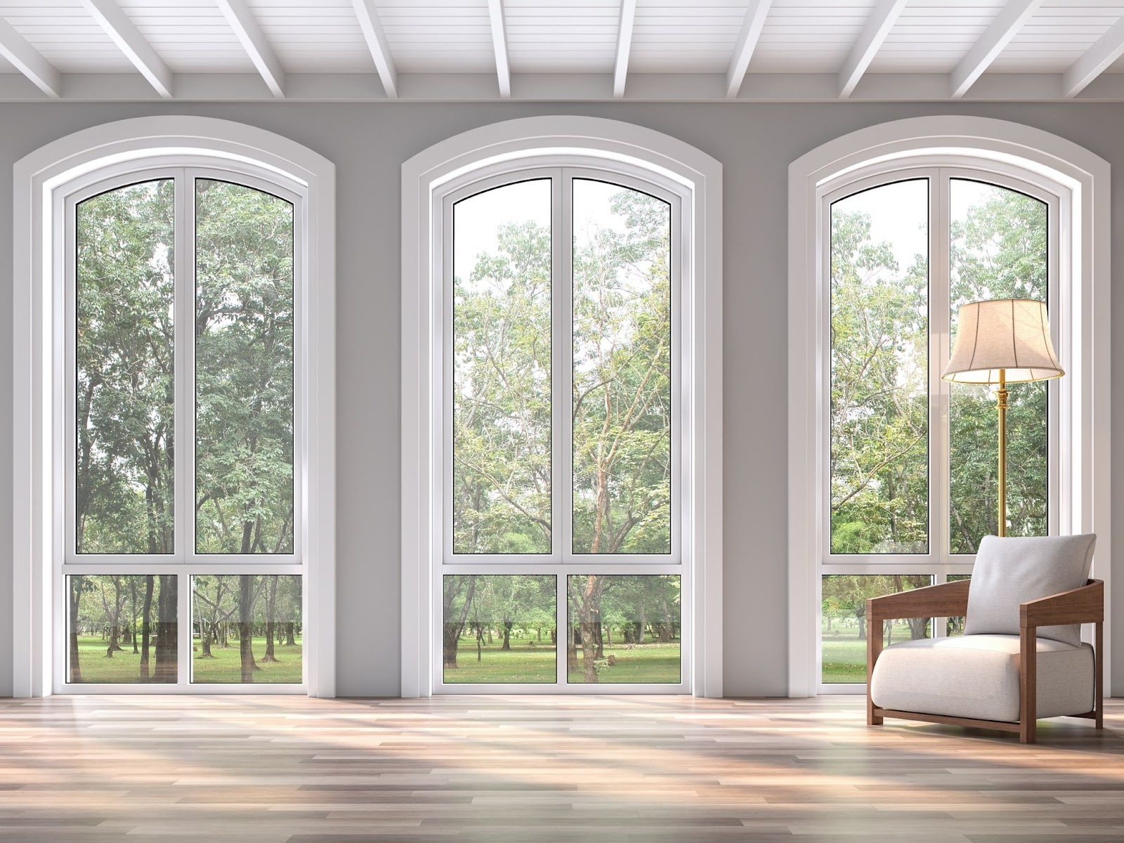 A combination of arched casement windows above fixed windows