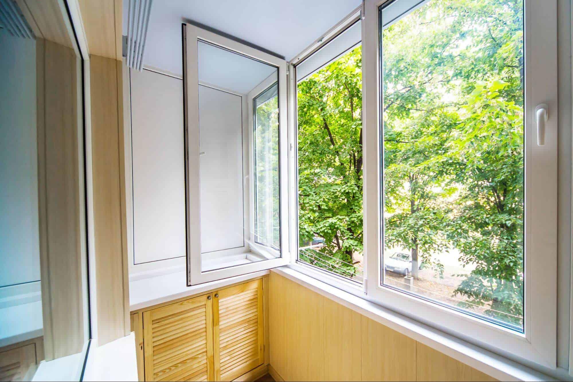 A set of open casement windows