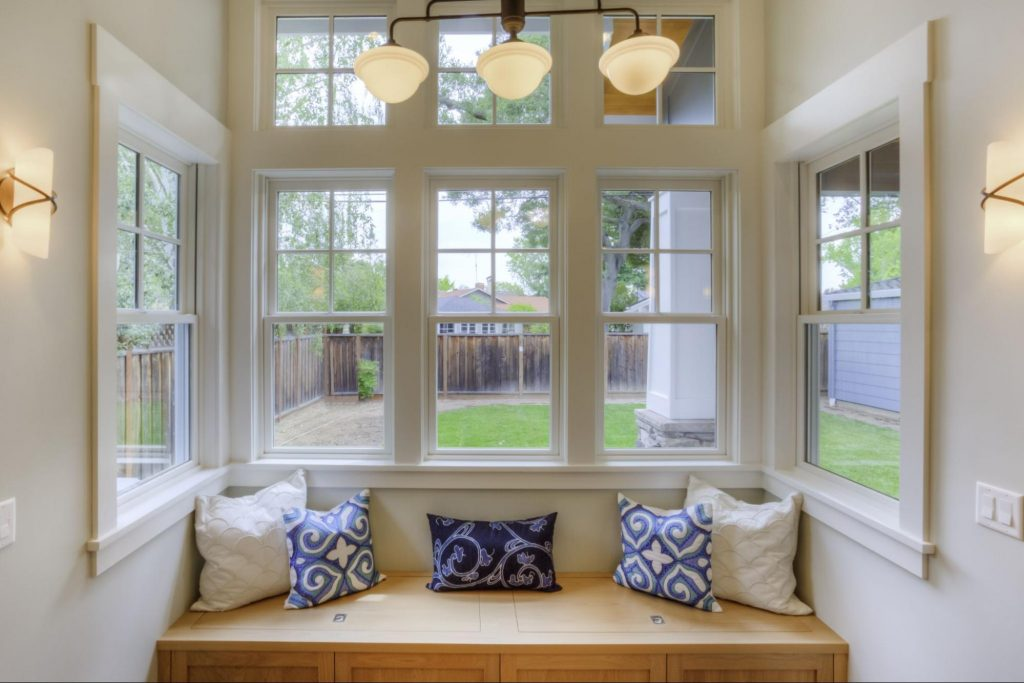 UPVC replacement windows that form a bay window